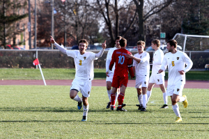 Senior Eric Schneider scored the eventual game-winner when he struck the back of the net at the 28:09 mark. Photo courtesy of Laura Westphal - Sport PiX.