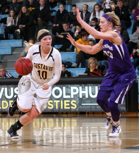 Mikayla Miller led Gustavus in scoring with 15 points - nine of which were in the second half.