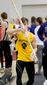 Derek Huntley headlined day two of the MIAC Championships with a second place finish in the pole vault.  The Gusties finished ninth overall with 36 points.
