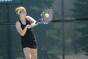 Senior Laurel Krebsbach won both her singles and doubles match to help Gustavus win its 27th MIAC Championship on Sunday.