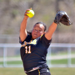 Hannah Heacox pitched a two-hitter in Gustavus's 1-0 game one victory. Photo courtesy of Layne Pitt - UW-Stout Sports Information Director.