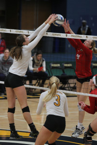 Alyssa Taylor goes up for a block against Saint Mary's.