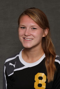 Emily Odermatt scored her first collegiate goal in the loss at Carleton.