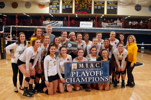 The 2015 MIAC Playoff Champion Gustavus volleyball team.