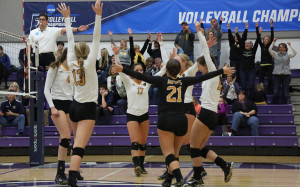 The Gusties celebrate a point in front of their fans that made the trip all the way to Whitewater, Wis.