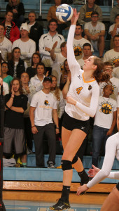 MIAC Player-of-the-Year Alyssa Taylor goes up for one of her seven kills on the night. (photo by AJ Dahm)