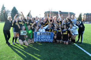 The Gustavus Adolphus College women's soccer claimed the MIAC Playoff Championship with a 1-0 victory over St. Thomas at South Field. (Photo courtesy of Matt Higgins, MIAC Assistant Executive Director)