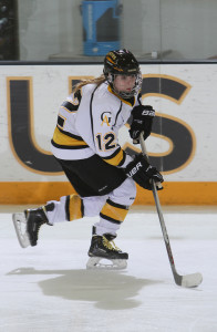 Georgia Eger scored her first collegiate goal during a 5-on-3 opportunity and gave the Gusties a 3-1 advantage in the second period.