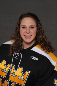Amanda DiNella allowed one goal and made 13 saves in 40 total minutes of play on Friday night.