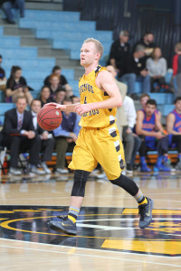 Chris Narum shot perfect from the field for 22 points against Macalester. (photo by Chris Coquyt, Gustavus Sports Information)