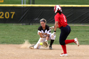 Rachel Malo fields a ground ball. She had eight putouts and five assists on the day.