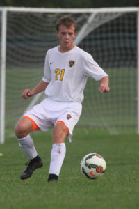 Kyle Monson gathers the ball.