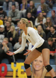 Taylor Trautman posted a career-high 22 kills on Senior Night. (photo by Roisen Granlund '17)