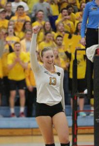 Lauren Hanson celebrates a kill.